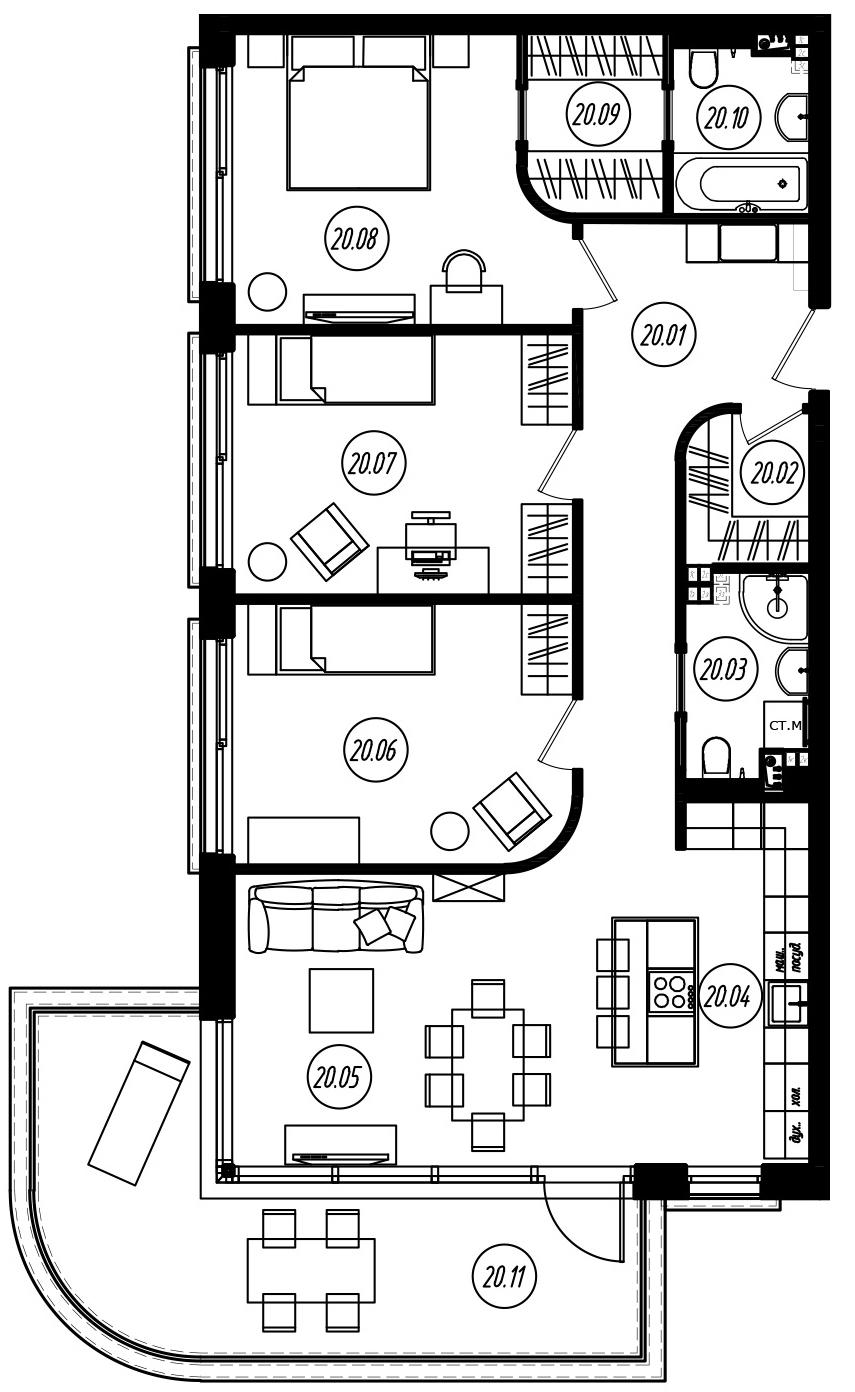 4Е-комнатная, 99.28 м²– 2
