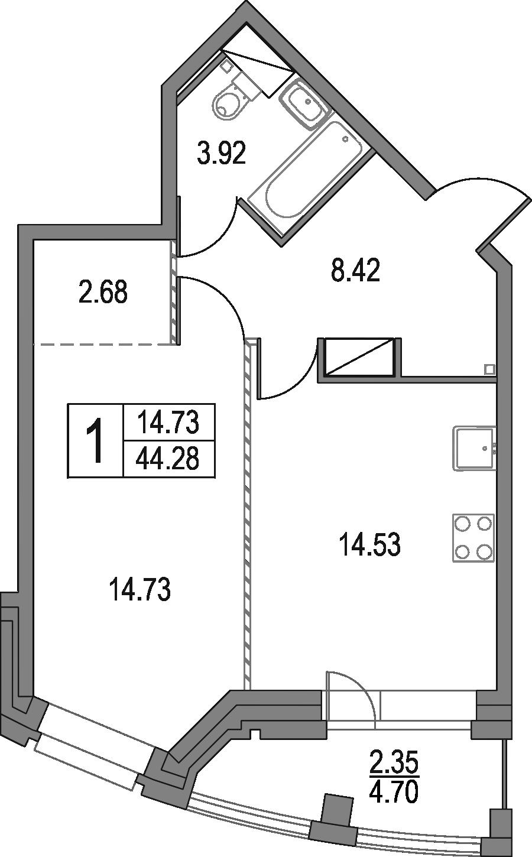 1-комнатная, 44.28 м²– 2