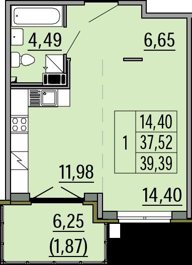 Студия, 39.39 м²– 2