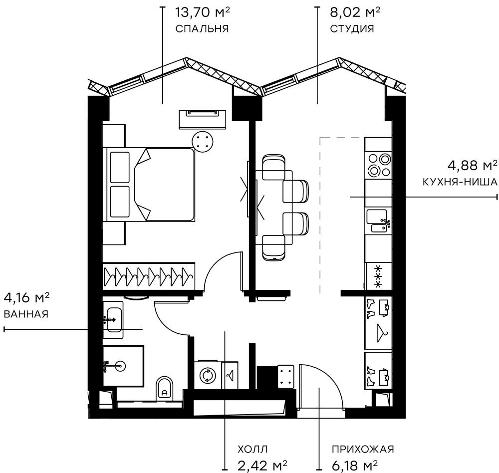 2Е-комнатная, 39.36 м²– 2