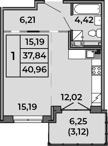 Студия, 37.84 м², 4 этаж