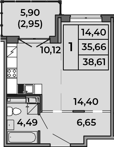 Студия, 35.66 м², от 2 этажа