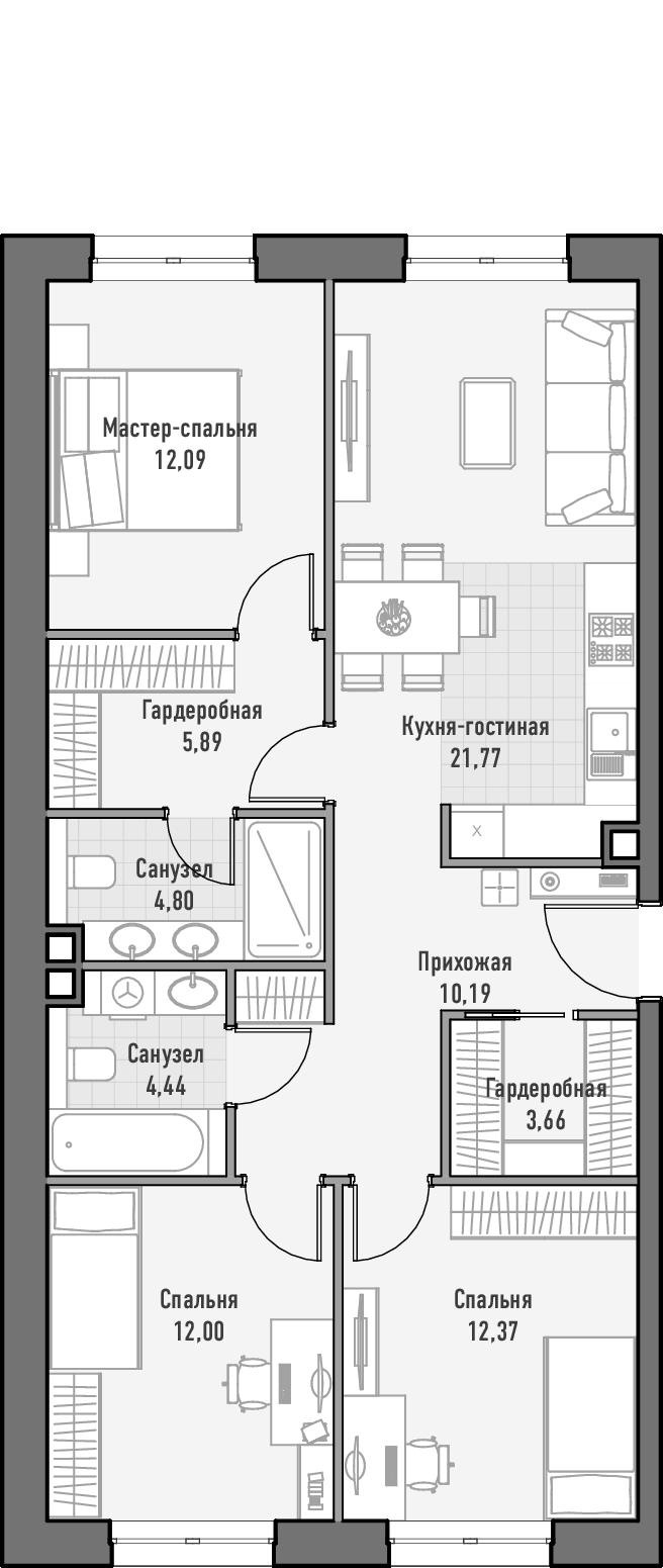 4-к.кв (евро), 87.3 м²
