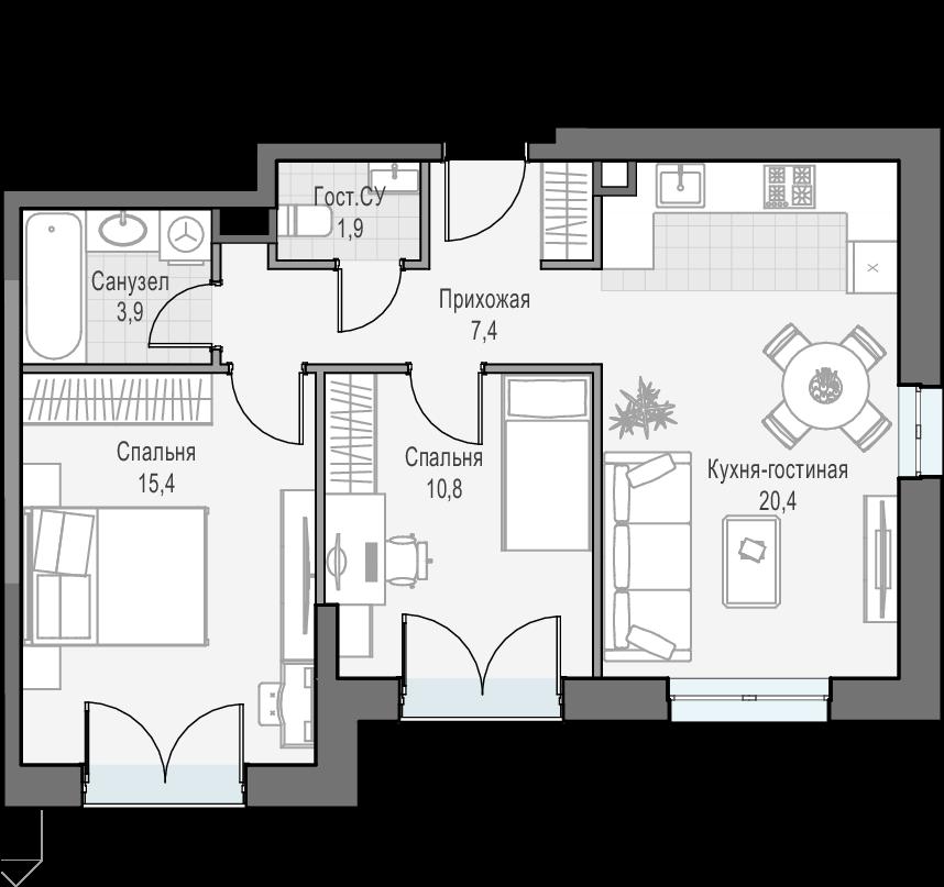 3Е-к.кв, 59.7 м², 25 этаж