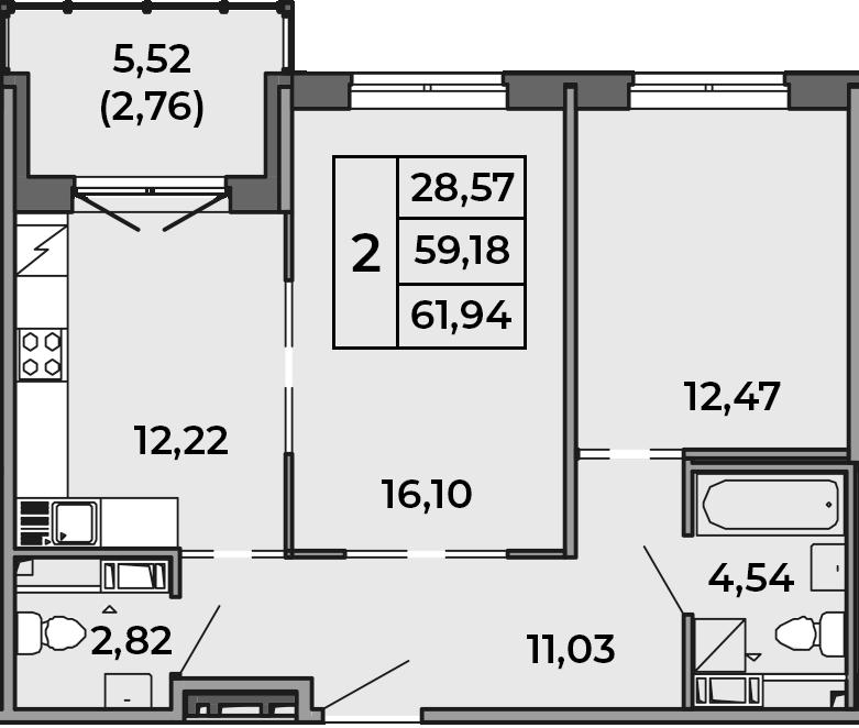 2-к.кв, 59.18 м²