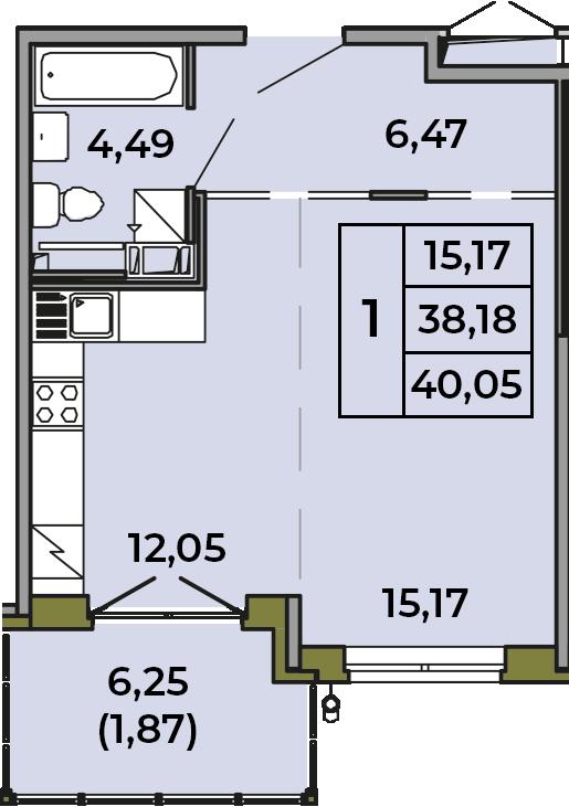 Студия, 38.18 м², 2 этаж – Планировка