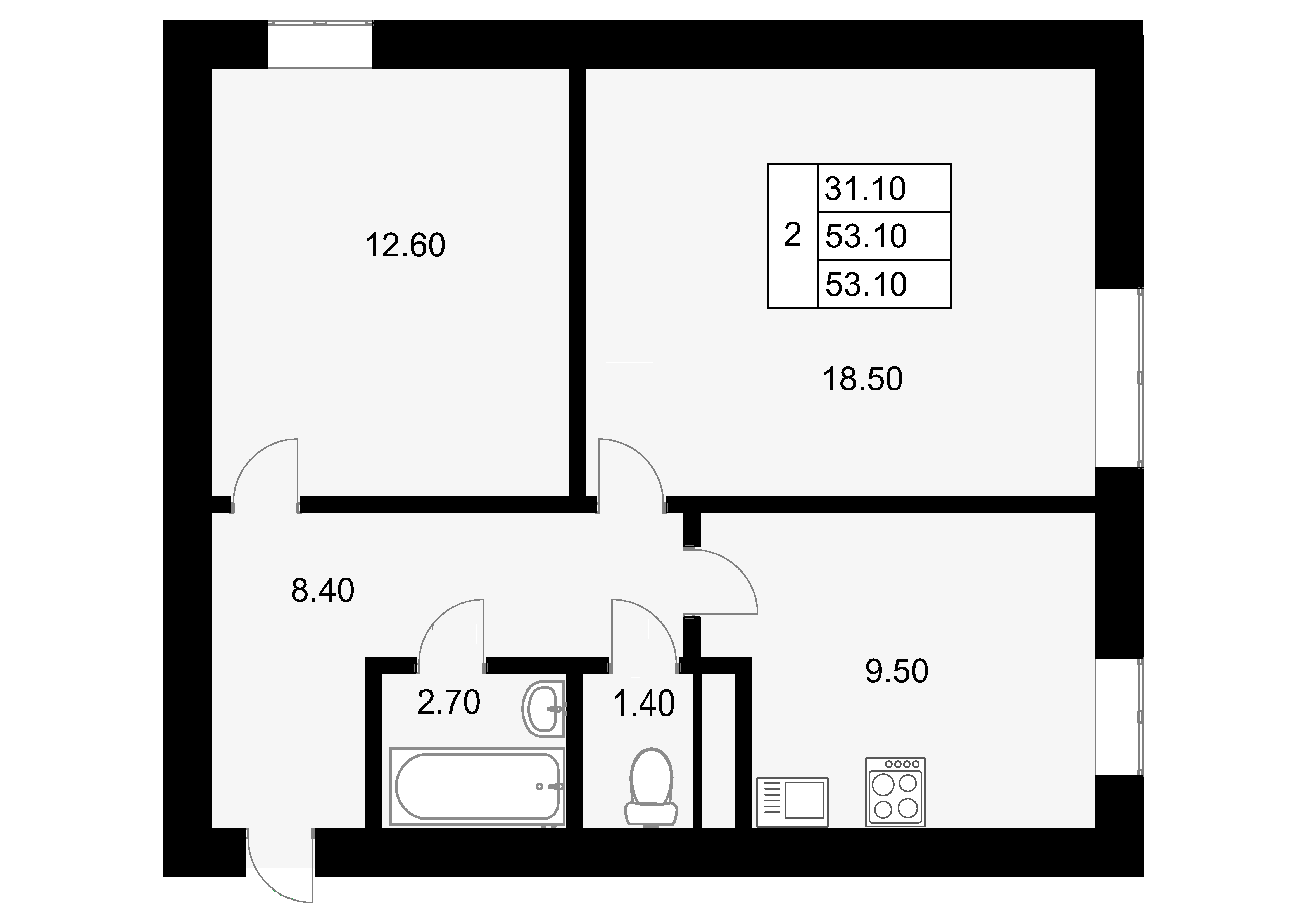 2-к.кв, 53.1 м²