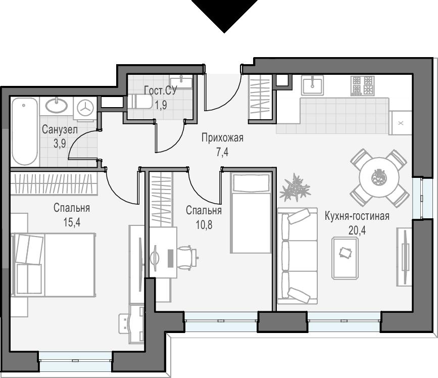 3Е-к.кв, 59.7 м², 17 этаж