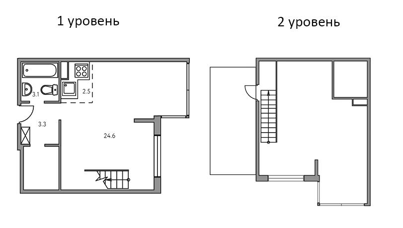 Свободная планировка, 51.7 м²– 2