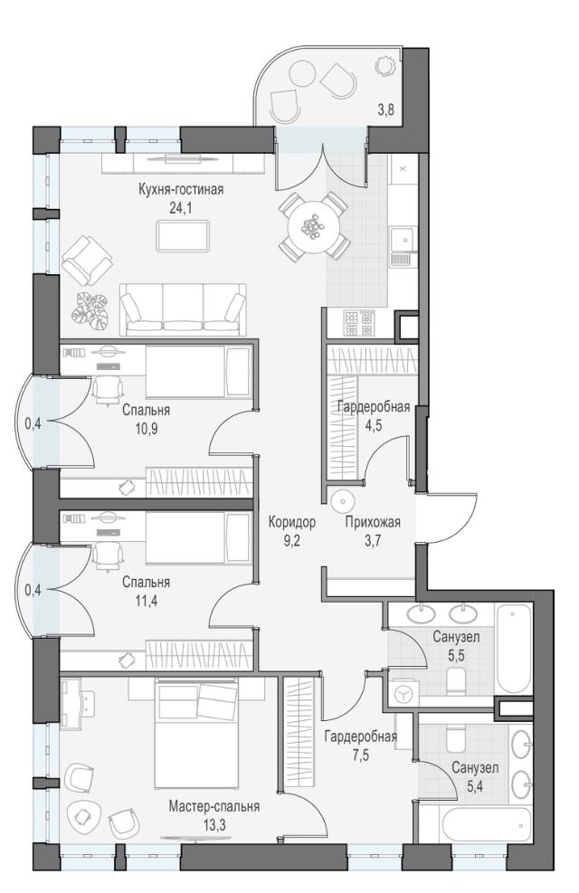 4Е-комнатная квартира, 96.88 м², 5 этаж – Планировка