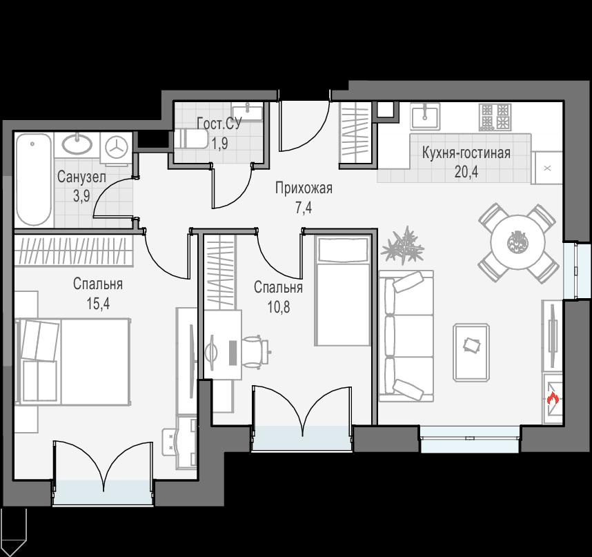 3Е-к.кв, 59.7 м², 26 этаж