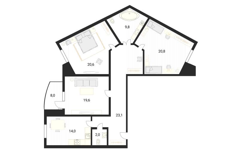 3-комнатная, 110 м²– 2
