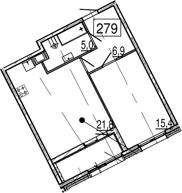 2Е-к.кв, 51.4 м², 11 этаж