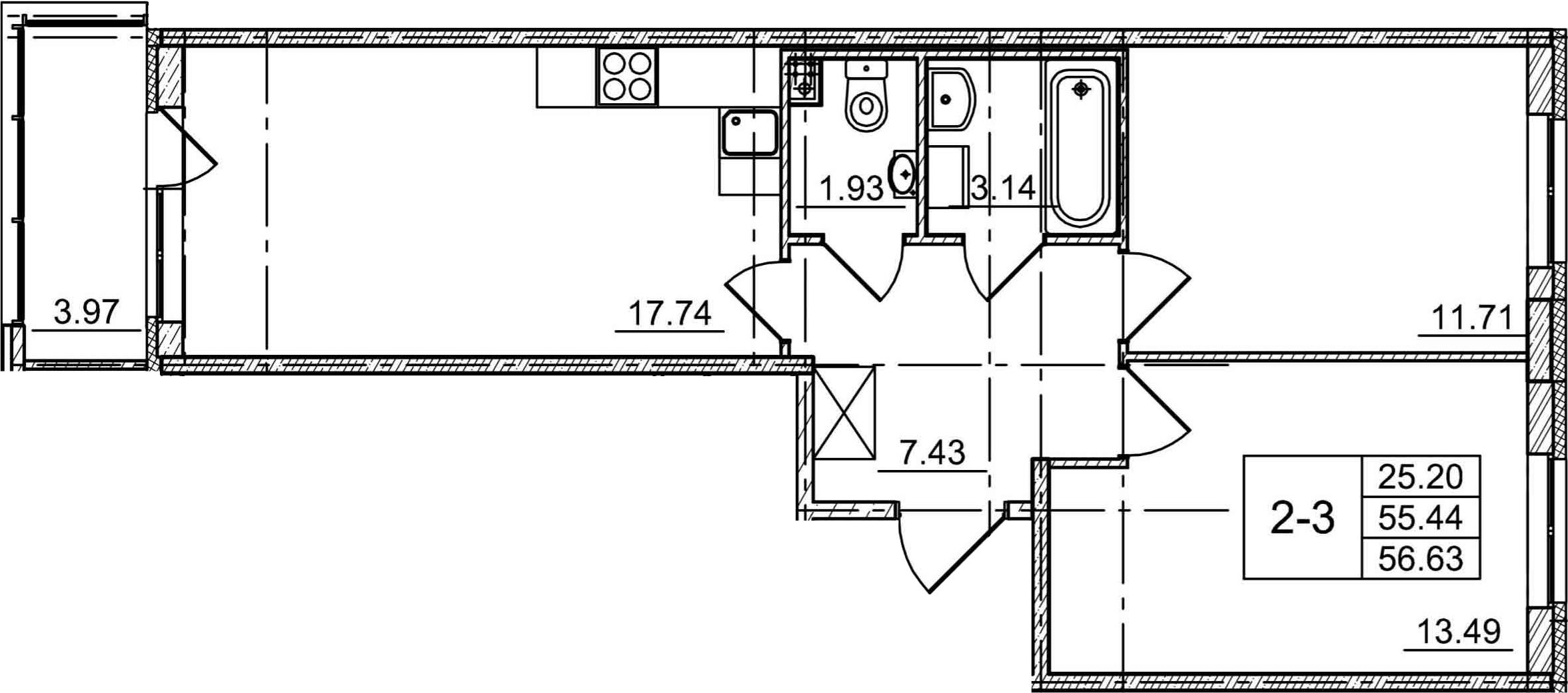 3Е-комнатная, 55.44 м²– 2