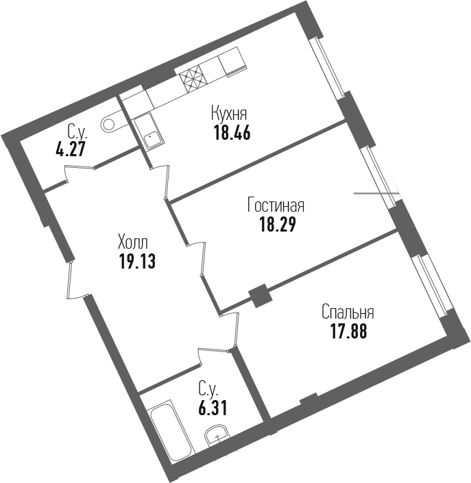3-к.кв (евро), 84.34 м²