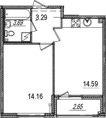 1-к.кв, 37.06 м², 8 этаж