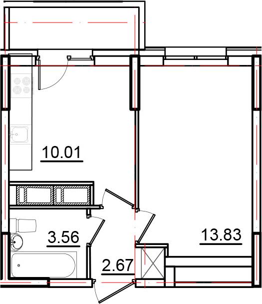 1-к.кв, 33.46 м²