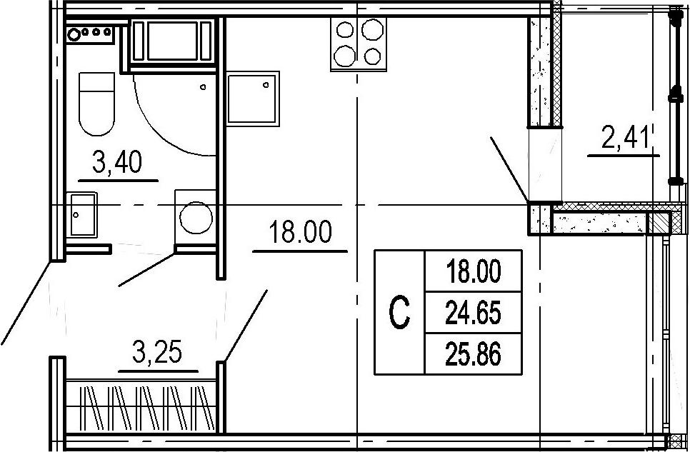 Студия, 27.06 м²