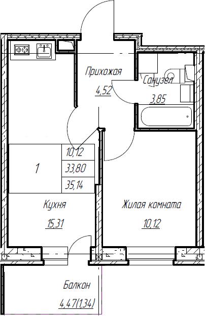 2Е-к.кв, 35.14 м², 2 этаж