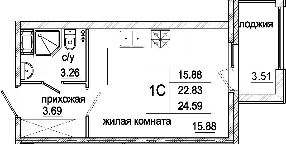 Студия, 26.34 м²