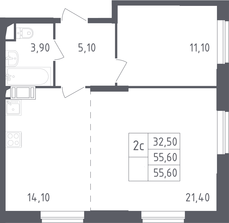 2Е-комнатная, 55.6 м²– 2