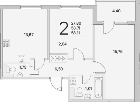 2-комнатная, 58.11 м²– 2