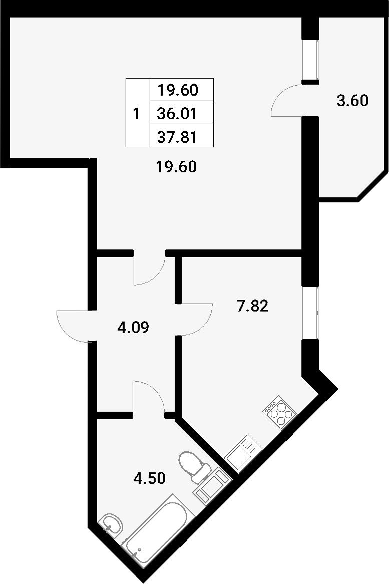 1-к.кв, 39.61 м²
