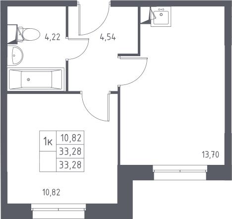 1-к.кв, 33.28 м²