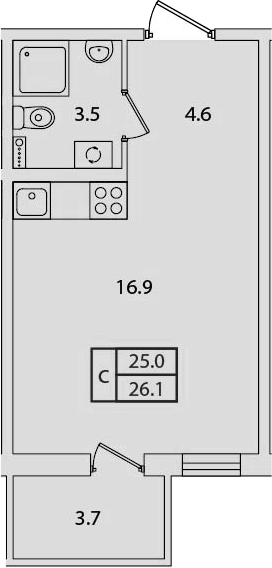 Студия, 26.1 м², 2 этаж