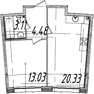 1-к.кв, 40.95 м², 2 этаж