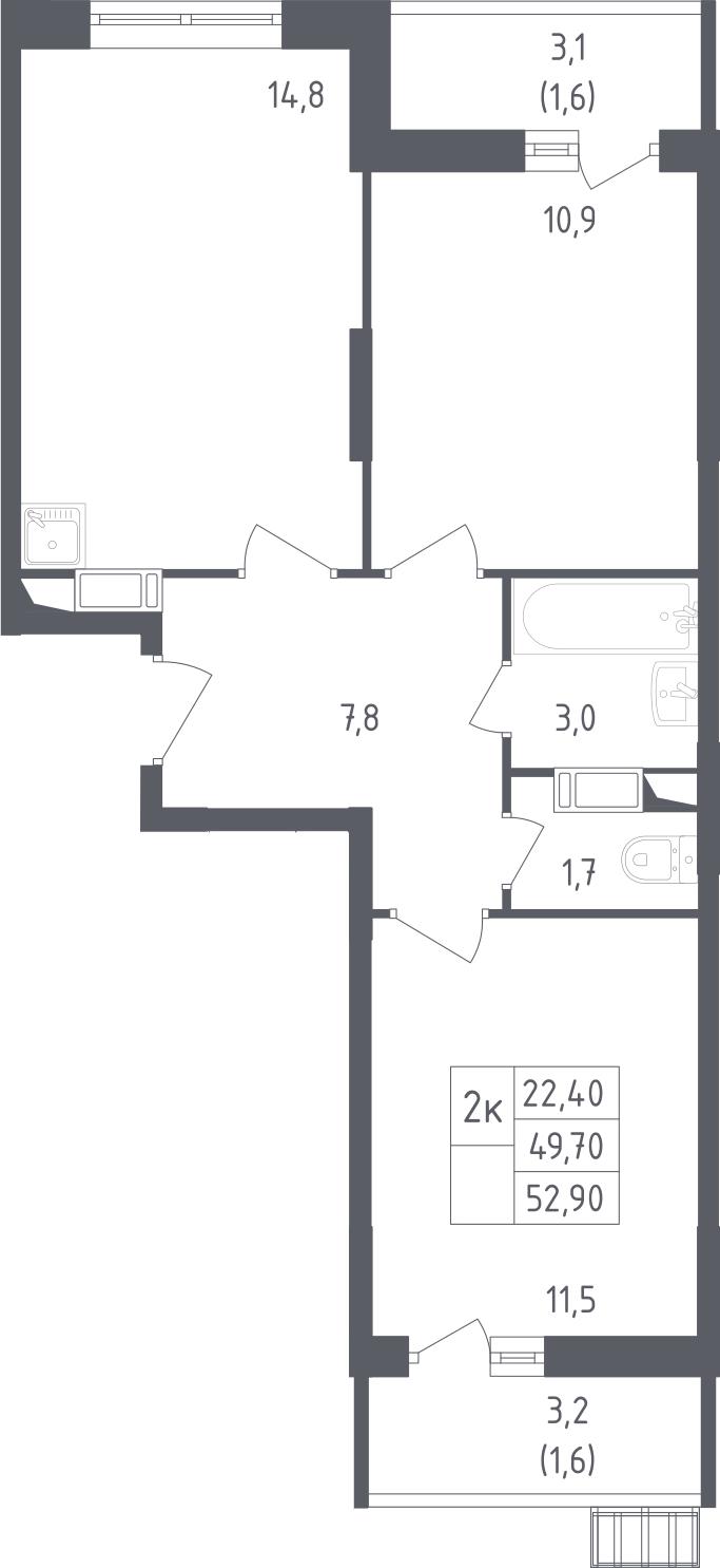 2-к.кв, 52.9 м²