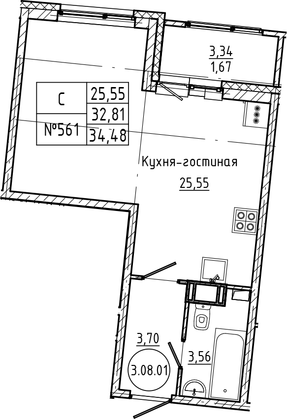 Студия, 34.48 м²– 2