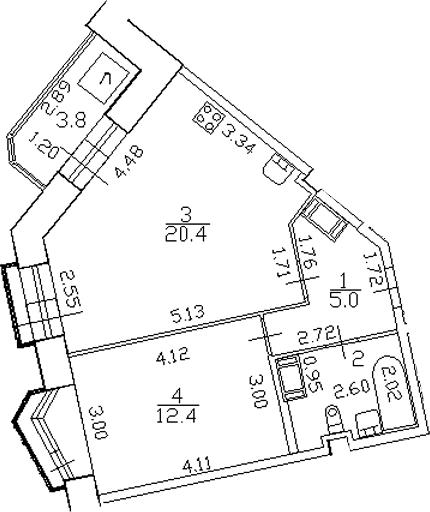 2-к.кв (евро), 46.3 м²