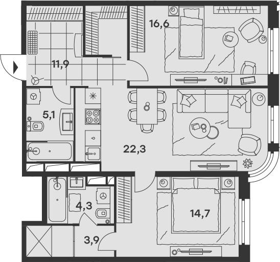 3Е-к.кв, 78.8 м², от 15 этажа