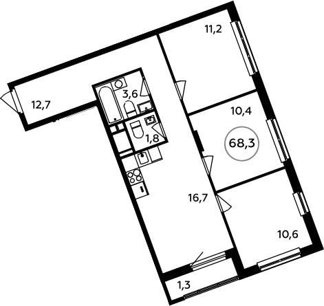 4-к.кв (евро), 69.6 м²