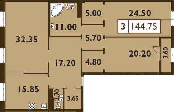 4Е-к.кв, 144.75 м²