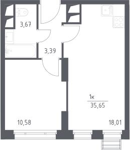 2Е-комнатная квартира, 35.65 м², 10 этаж – Планировка
