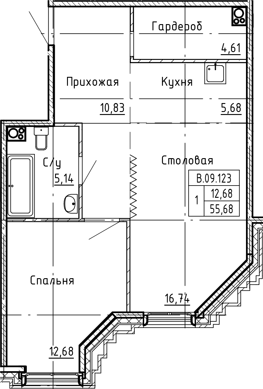 2Е-к.кв, 55.68 м²
