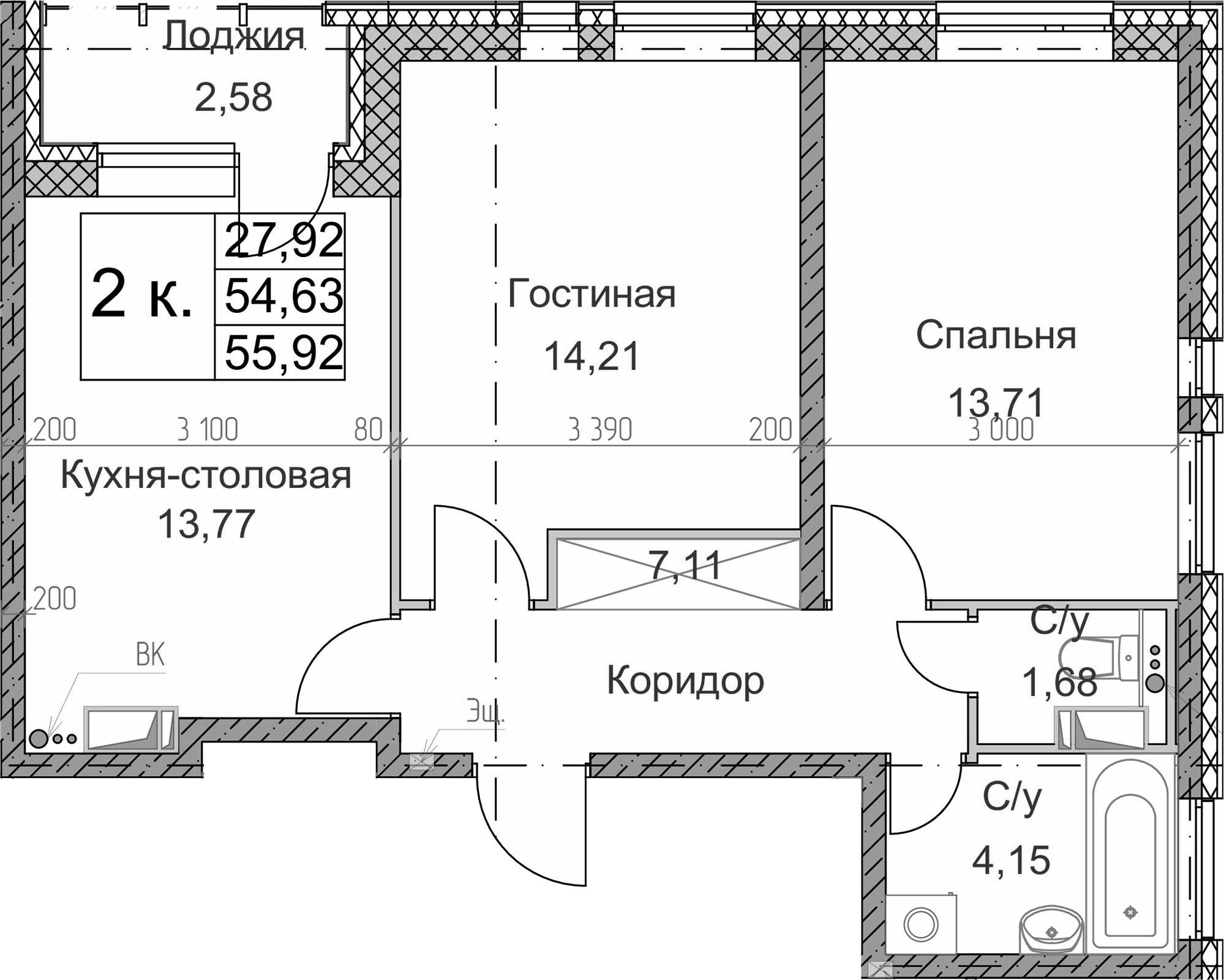 2-к.кв, 55.92 м²