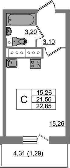 Студия, 22.85 м², 18 этаж – Планировка