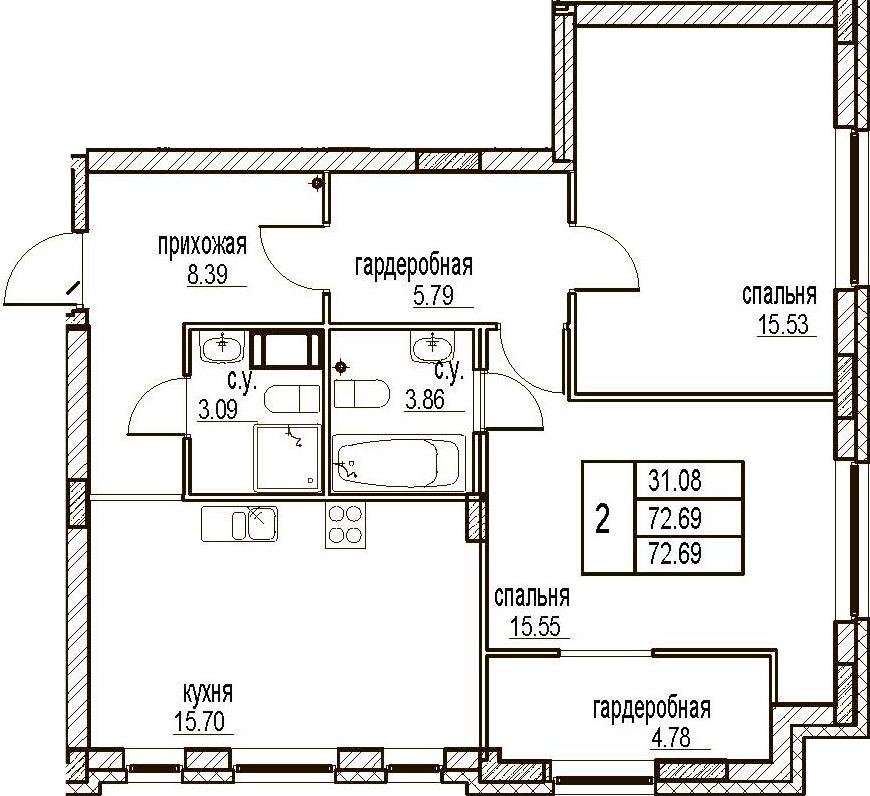 2-комнатная, 72.69 м²– 2