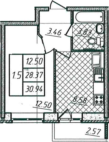 1-комнатная, 28.37 м²– 2