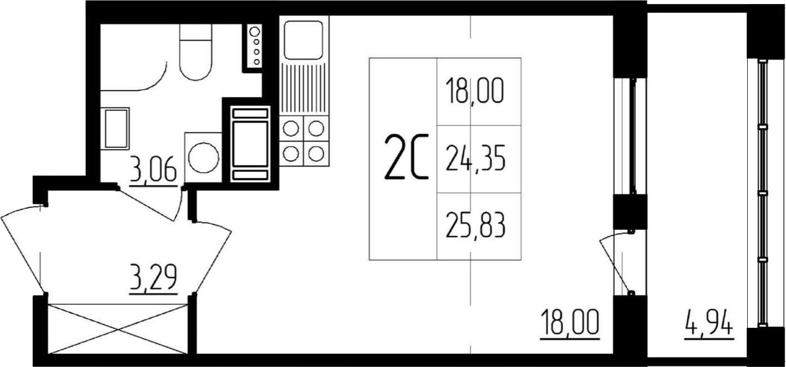 Студия, 24.35 м²