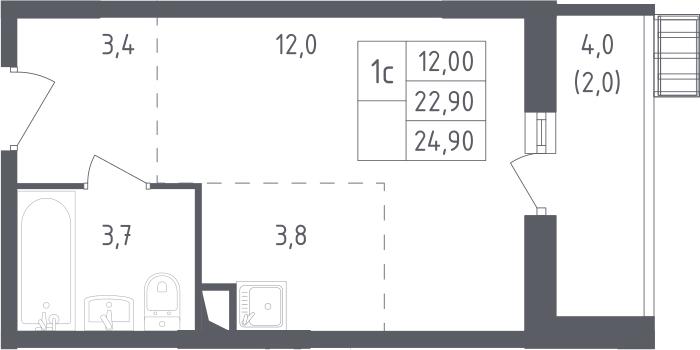 Студия, 26.9 м²