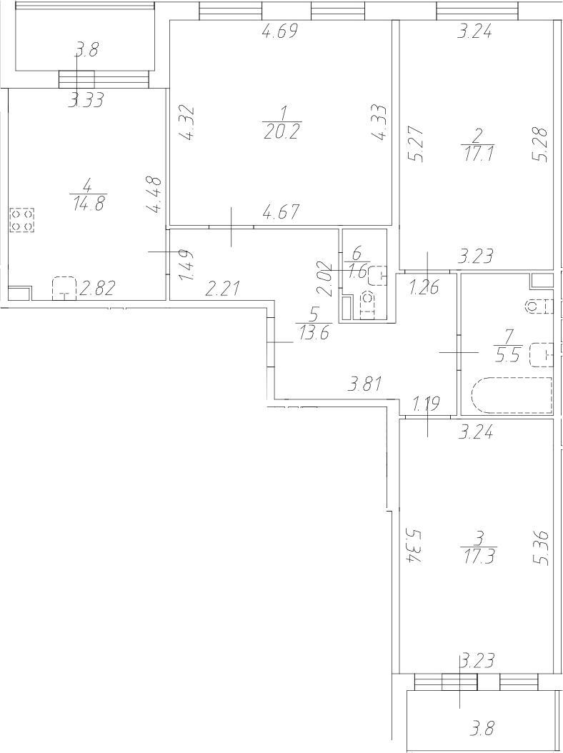 3-к.кв, 90.1 м²