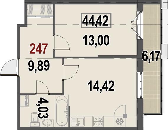 2Е-комнатная, 44.42 м²– 2