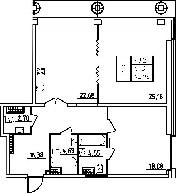 3Е-комнатная, 94.24 м²– 2