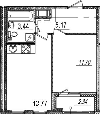 1-к.кв, 35.25 м², 6 этаж