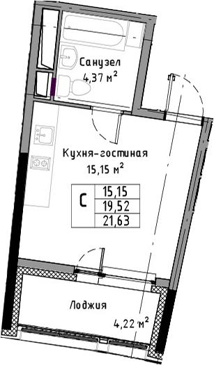Студия, 21.63 м²