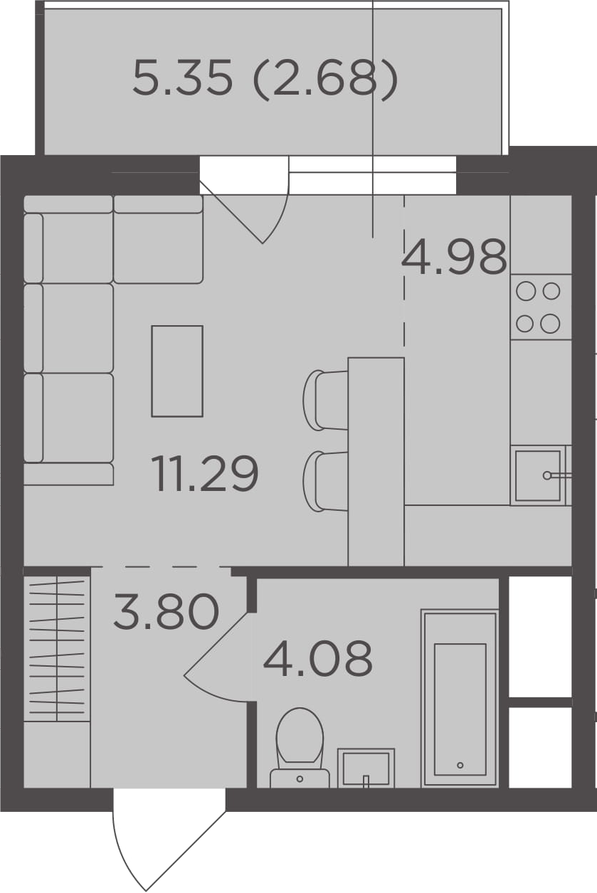 Студия, 26.83 м²